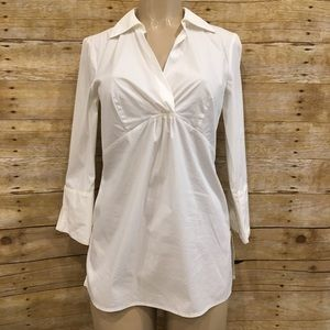 DANA BUCHMAN | White Fitted Button Up Career Top S